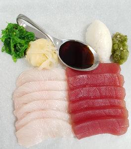 Sashimi van tonijn en kingfish